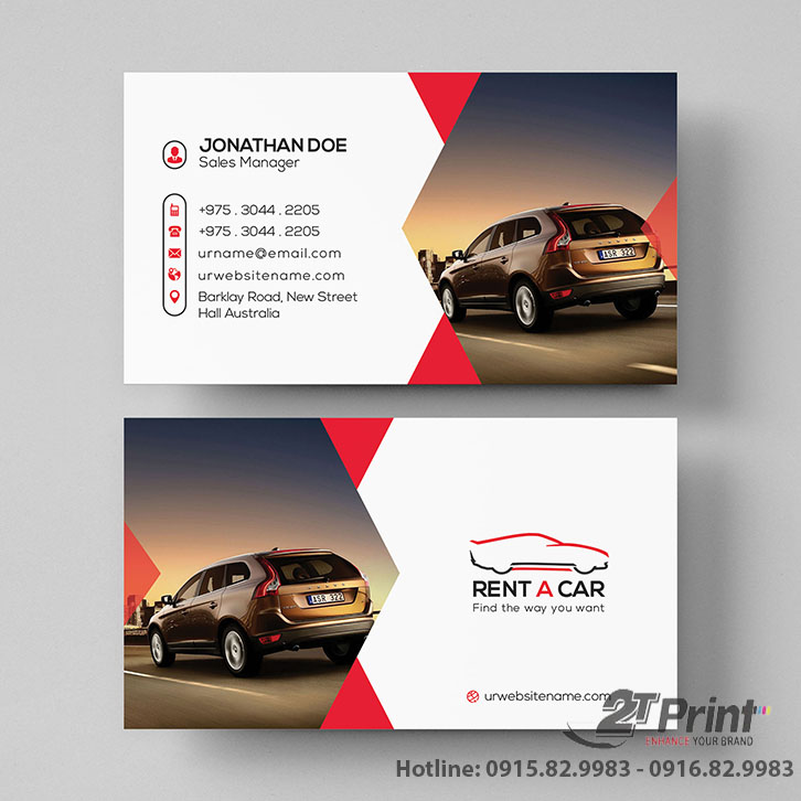 card visit cho thuê xe sang trọng