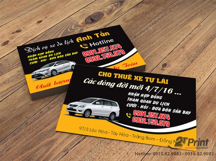 card visit cho thuê xe thông dụng