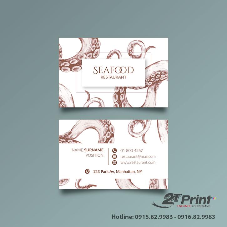 mẫu card visit hải sản họa tiết