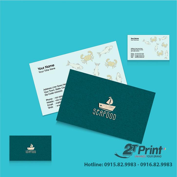 mẫu card visit hải sản sắc xanh