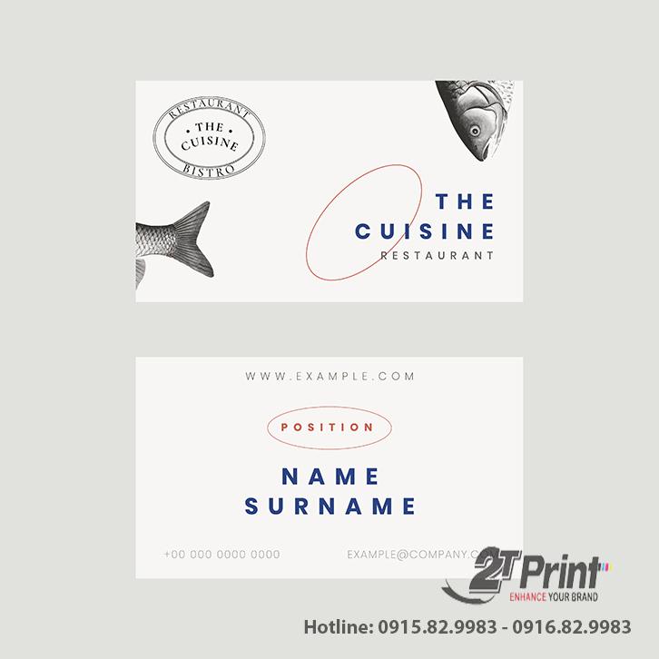 mẫu card visit hải sản đơn giản