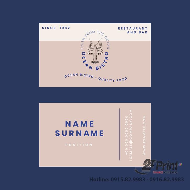 mẫu card visit hải sản tone nâu