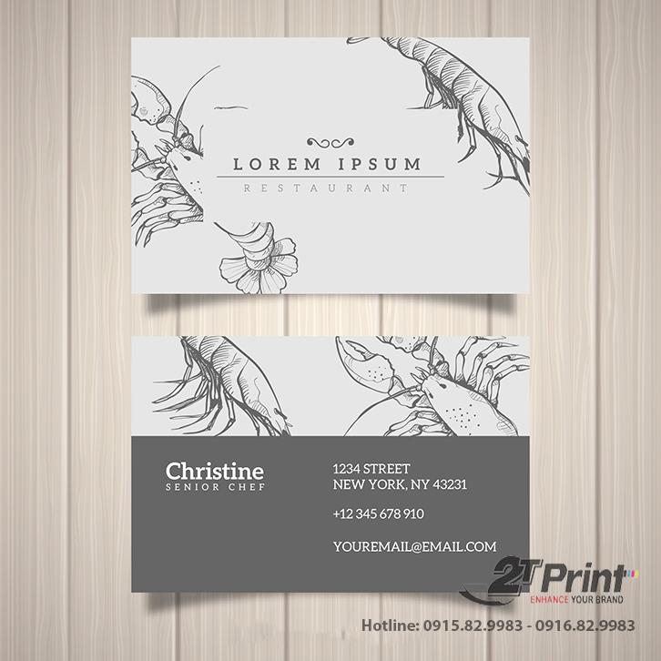 mẫu card visit hải sản màu ghi trắng