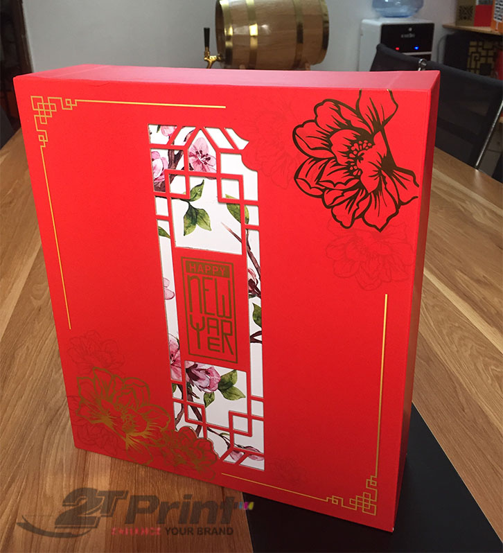 hộp cao cấp làm quà tặng hoa đào