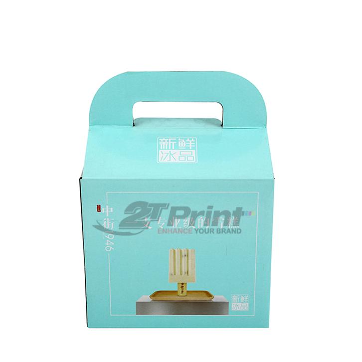 hộp carton có quai xách màu xanh