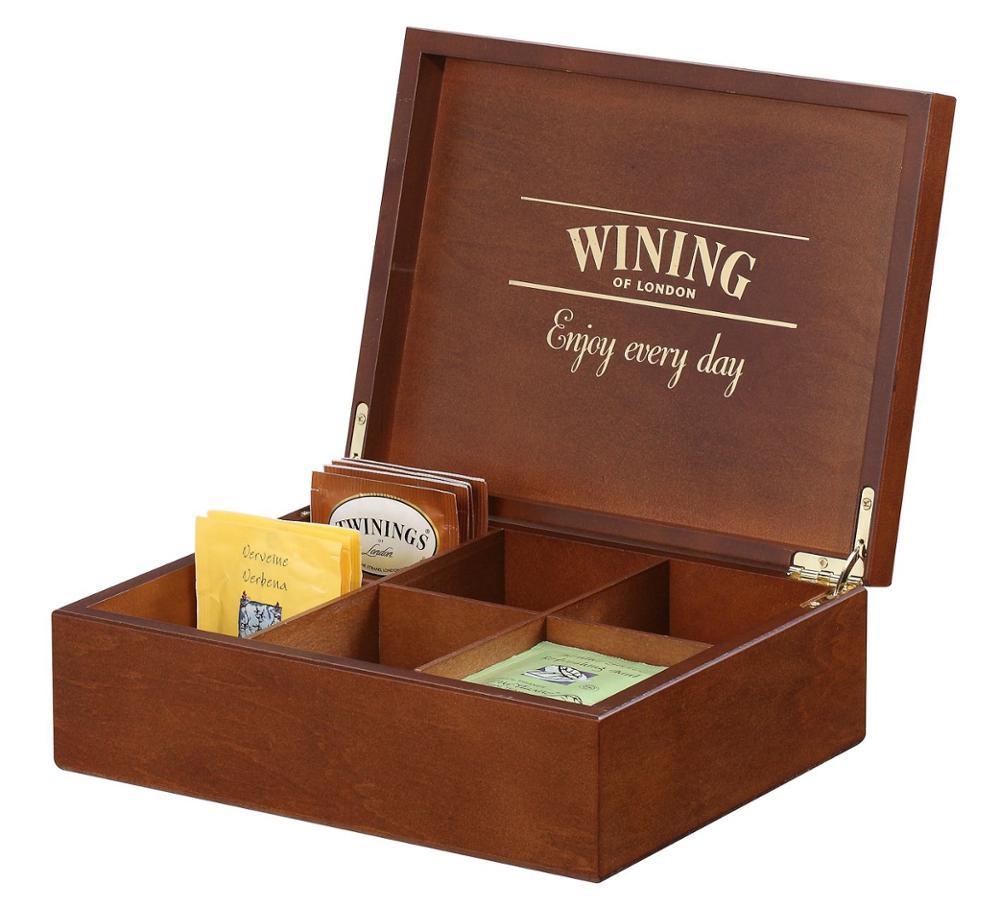 Hộp trà hình hộp chữ nhật màu gỗ cao cấp