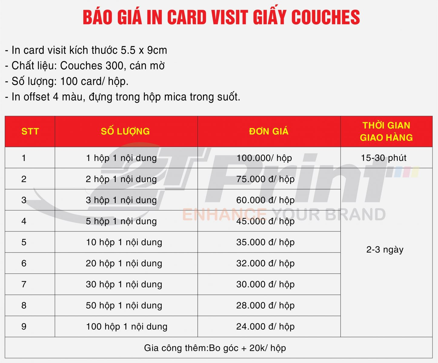 báo giá in card visit giấy couches