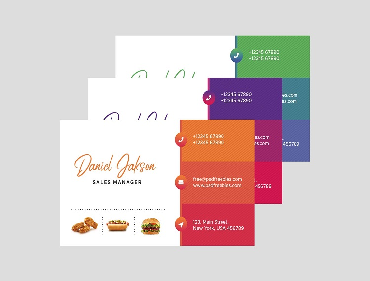 Mẫu card visit quán ăn màu sắc tươi sáng