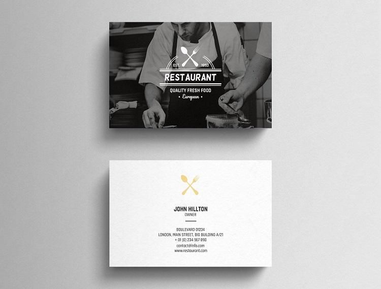 Mẫu card visit quán ăn đầy tính nghệ thuật khi sử dụng hình ảnh đầu bếp
