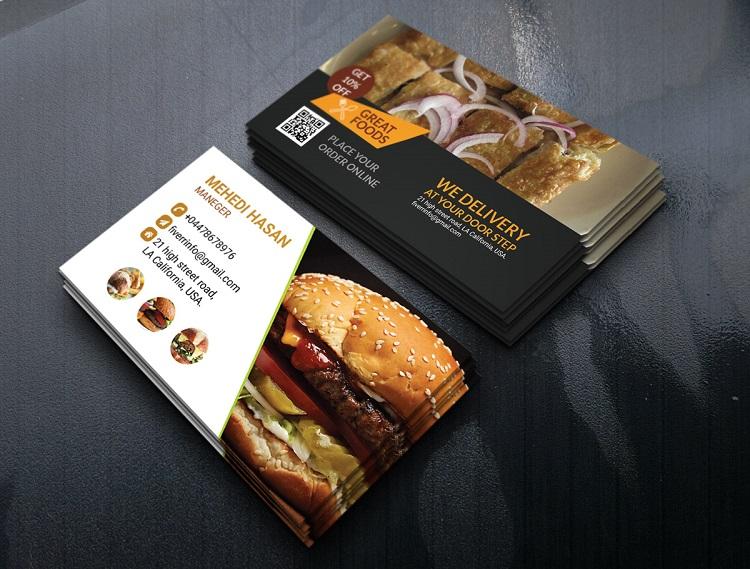 Mẫu card visit quán ăn kích thích vị giác của khách hàng