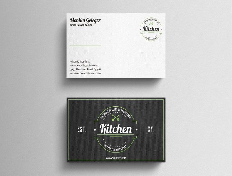 Mẫu card visit quán ăn dùng logo độc đáo để tạo ấn tượng cho khách hàng