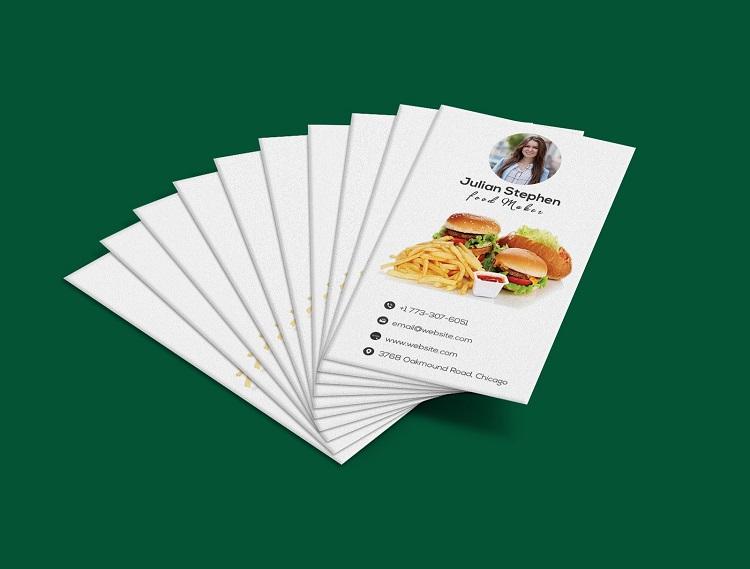 Mẫu card visit quán ăn với gam màu trắng tinh tế