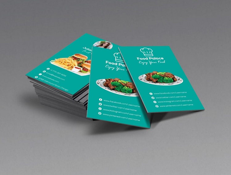 Mẫu card visit quán ăn sử dụng màu sắc hài hòa
