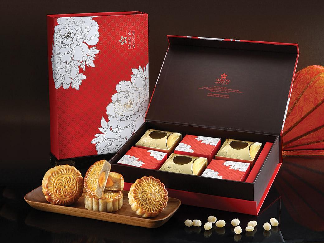 mẫu hộp bánh trung thu 6 bánh sắc đỏ
