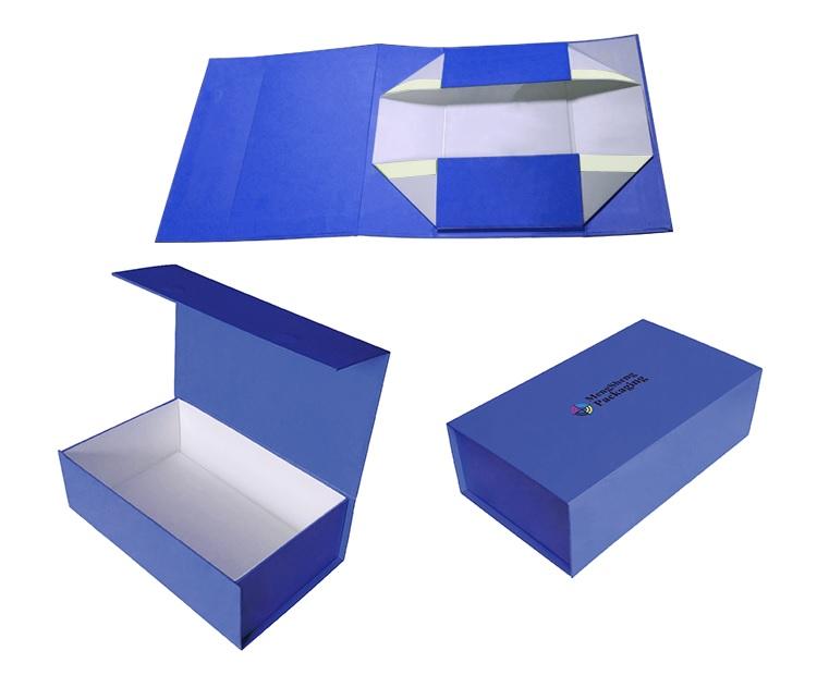 in hộp giấy có nam châm hút màu xanh nước biển