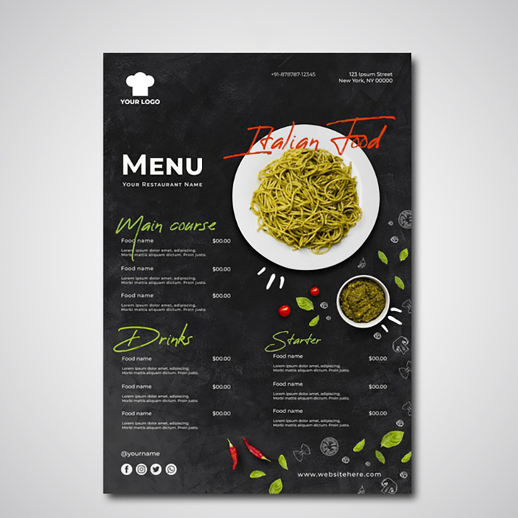 mẫu in menu