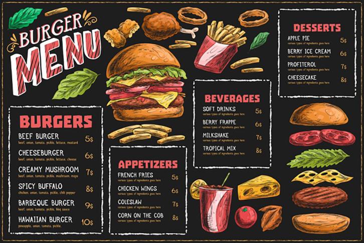 mẫu in menu đồ ăn nhanh