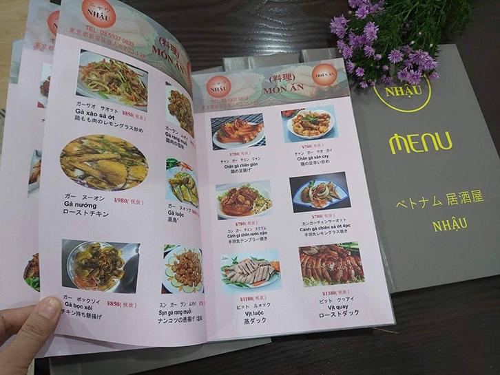 công nghệ, quy cách in menu