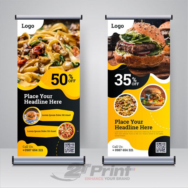 In standee quảng dịch vụ ăn uống