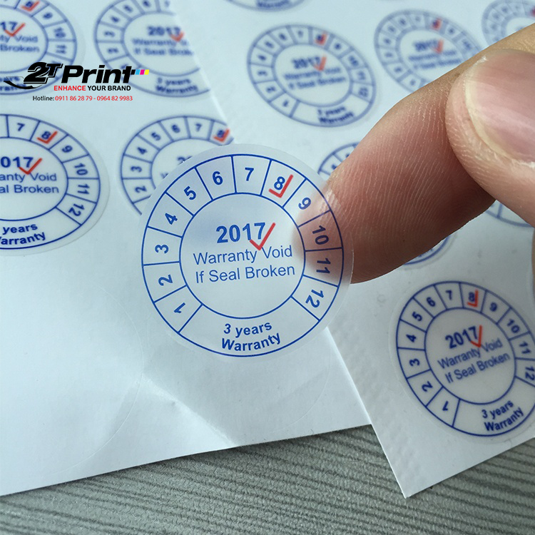 Những sản phẩm có hình dạng vuông vức thường sử dụng tem bảo hành hình tròn