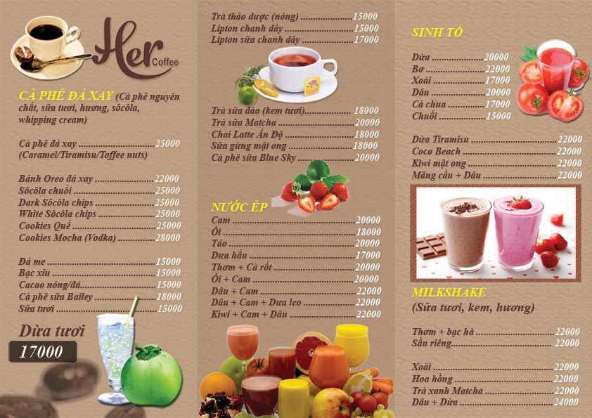 kích thước menu cafe