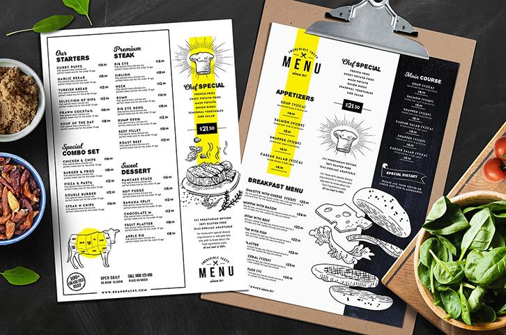 kích thước menu phổ biến