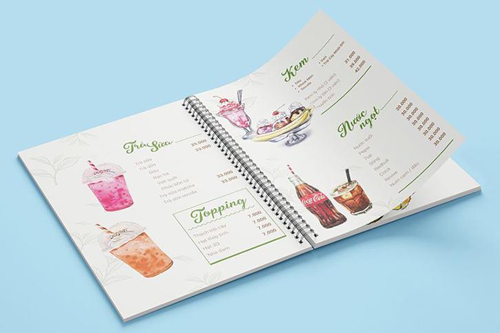 kích thước menu catalogue