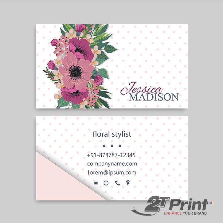 mẫu card visit cá nhân họa tiết hoa điểm nhấn