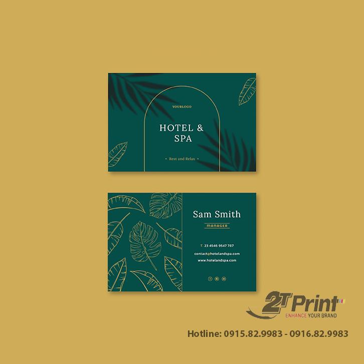 mẫu card visit khách sạn xanh lá