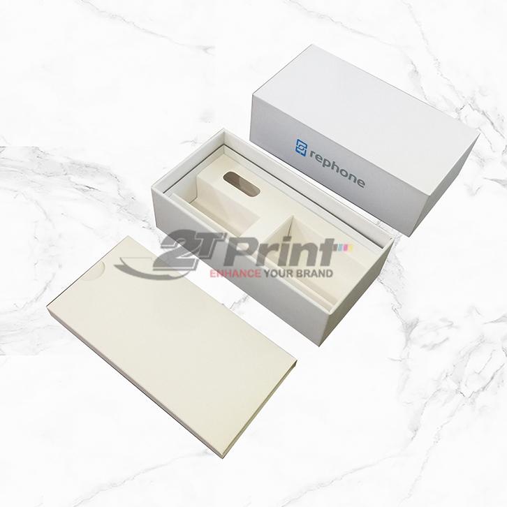 mẫu hộp carton đựng đồ điện tử màu trắng