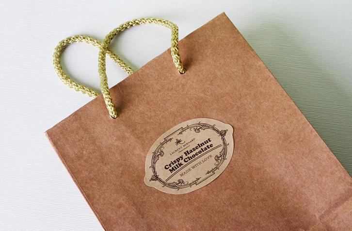 mẫu tem kraft cho sản phẩm túi giấy