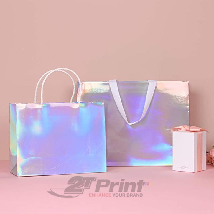 mẫu túi giấy đựng mỹ phẩm lấp lánh
