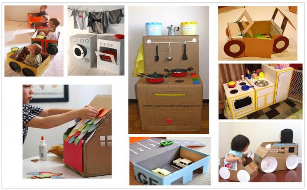 Bìa carton cứng làm đồ chơi cho bé