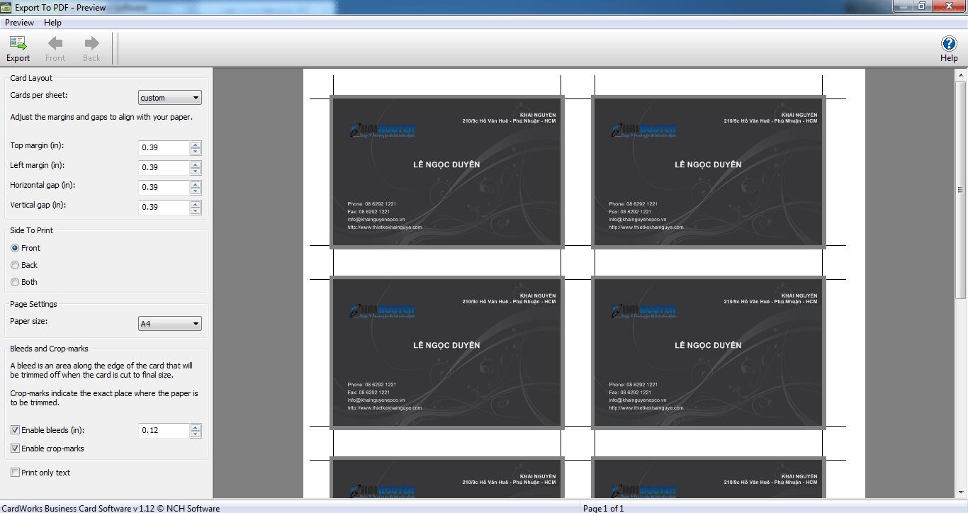 phần mềm thiết kế card visit CardWorks Business Card Software
