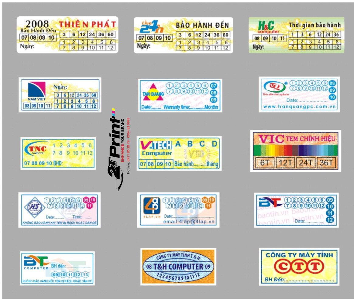 In tem bảo hành hình chữ nhật được dùng nhiều
