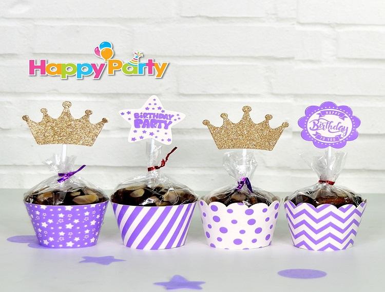 Mẫu tem cài bánh, tem dán bánh sinh nhật tinh tế