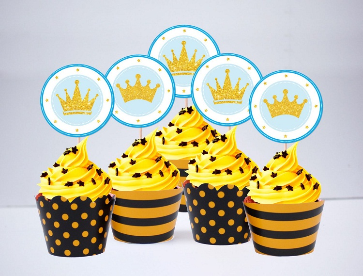 Mẫu tem cài bánh, tem dán bánh sinh nhật vương miện