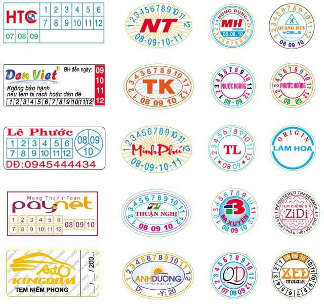 Một số mẫu tem niêm phong tại 2T