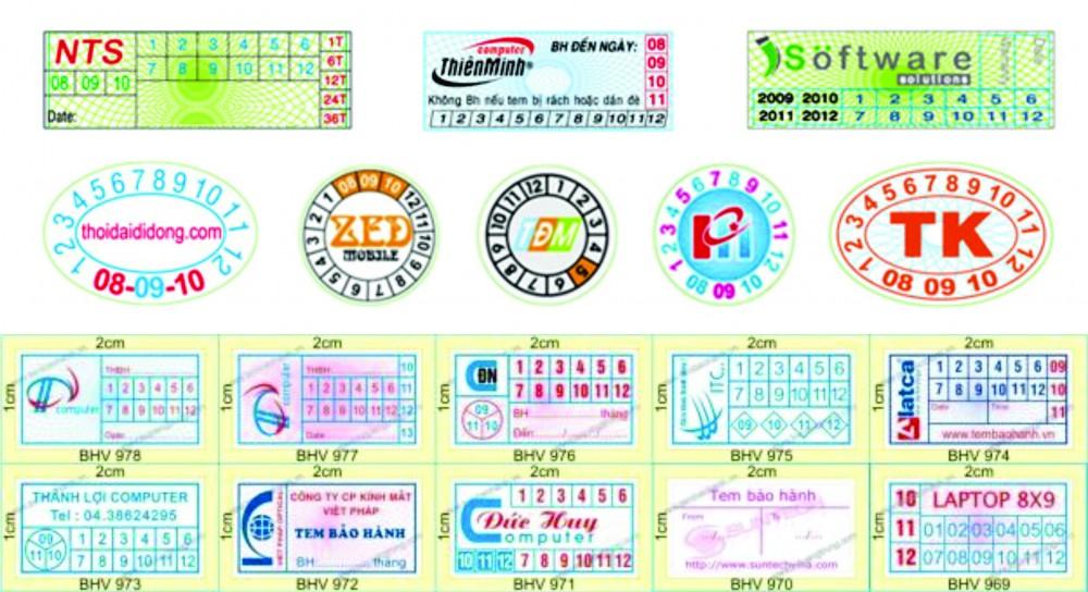 Các mẫu tem vỡ 2T sản xuất