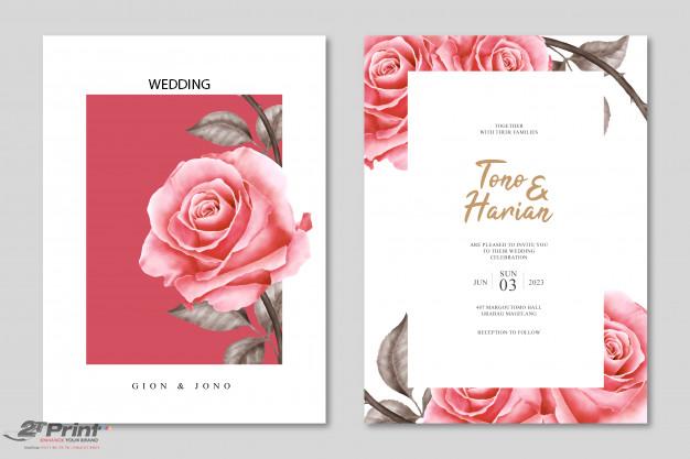 mẫu in thiệp cưới hoa hồng