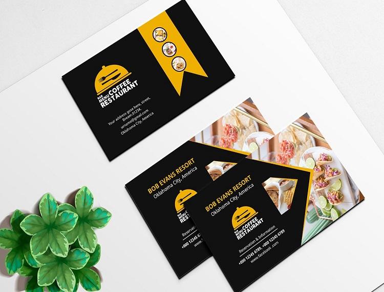 Mẫu card visit quán ăn nhanh két hợp gam màu đen và vàng hài hòa