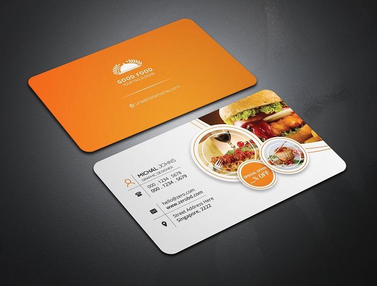 Mẫu card visit quán ăn thiết kế vát 4 góc sang trọng