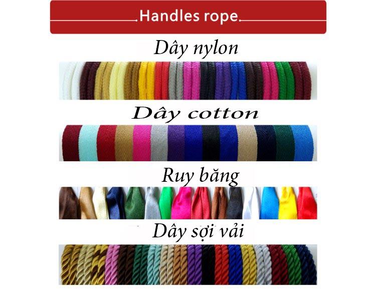 Các loại quai túi giấy và các màu khi sản xuất túi giấy