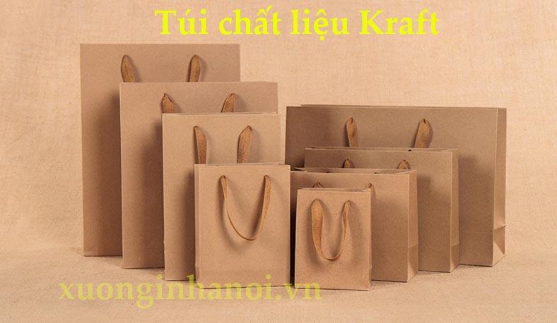 Chất liệu túi giấy Kraft màu vàng