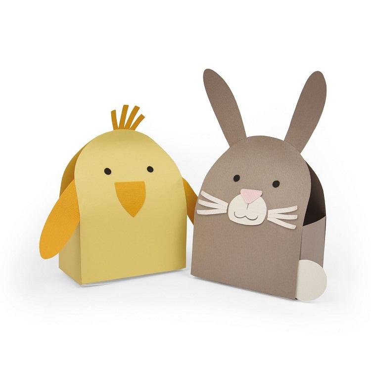 Mẫu die cut chiếc hộp mô hình con vật dễ thương