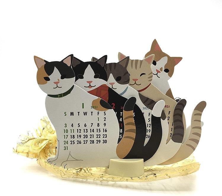 Mẫu die cut lịch hình con mèo độc đáo